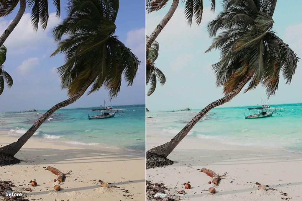пляжный пресет лайтрум