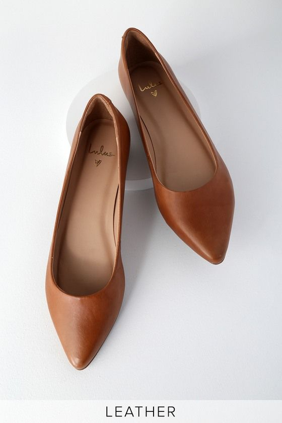 Lulus   Holly Leather Cognac Pointed Toe Flats   Size 7.5
