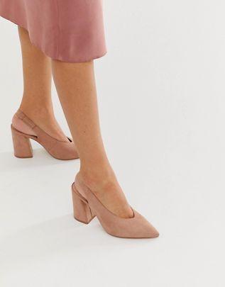 Бежевые туфли на блочном каблуке с ремешком на пятке Miss Selfridge