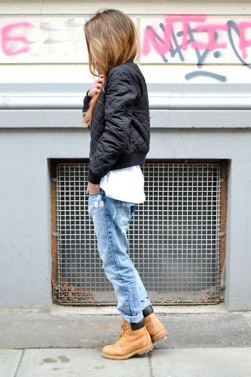 с чем носить модные ботинки тимберленды #TimberlandBoots