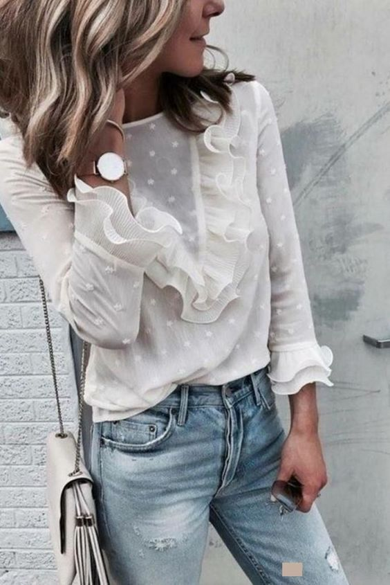 Ladies Ruffle Frill Long Sleeve Perspectived Casual Top-topmaxy.com