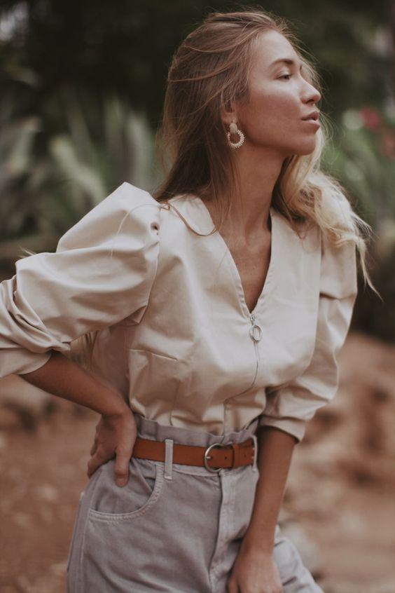 Блуза на молнии с объемными рукавами – купить на Ярмарке Мастеров – JUKF4RU | Блузки, Самара