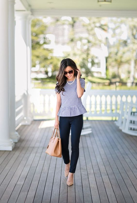 gingham peplum top + navy ankle pants // cute spring summer work outfit petite fashion