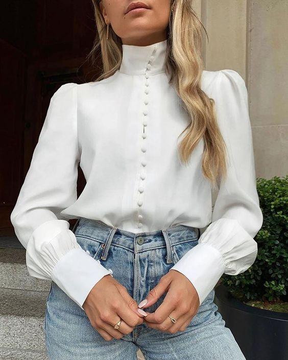Заказать Solid Long Sleeve Single Breasted Blouse в интернет-магазине по лучшей цене или выбрать другие товары бренда ChicMe . Широкое разнообразие моделей для любого повода и образа. Скидки и акции. Удобный поиск, Wishlist.