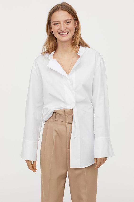 Хлопковая рубашка оверсайз - Кремовый - Женщины   H&M RU