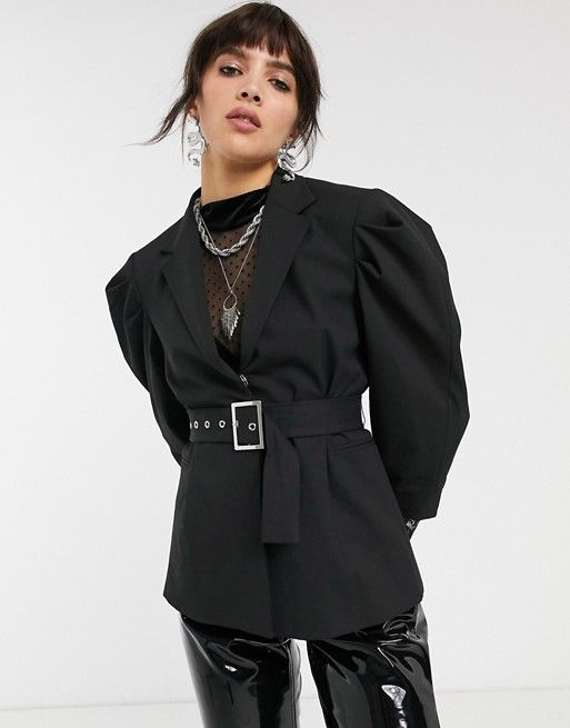 Bershka volume shoulder blazer in black with tie waist | ASOS