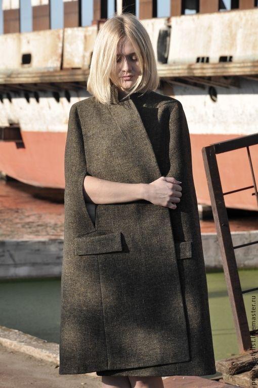 Кейп - хаки,кейп,пальто демисезонное,пальто дизайнерское,шерстяное пальто