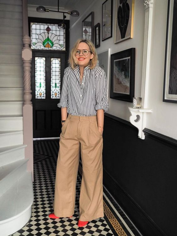 Get Alex from The Frugality's Annie Hall inspired look by pairing our Pleated Khakis (available exclusively in-store), with the classic Stripe Boyfriend Shirt. Discover new arrivals in-store and at gap.co.uk