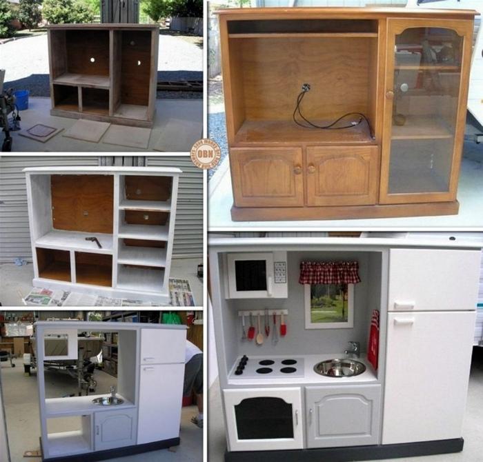 Детская кухня из старой тумбы под телевизор.