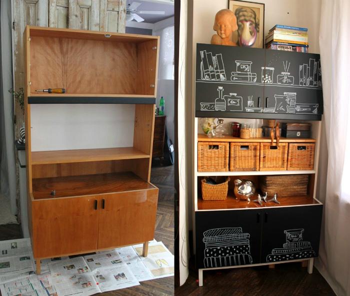 Стильный кухонный стеллаж из старого буфета.