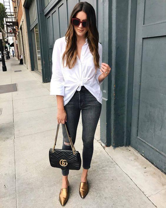 KnottedShirt by bcbgmaxazria, Jeans by frame, Handbag...