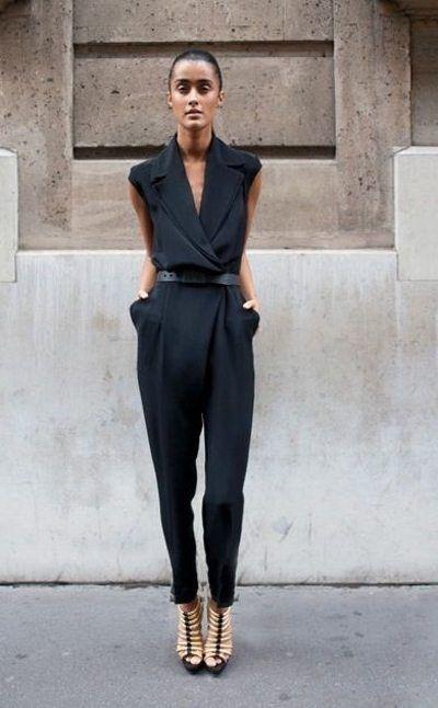 Черный комбинезон на моднице #womeswear #black #howto #howtowear