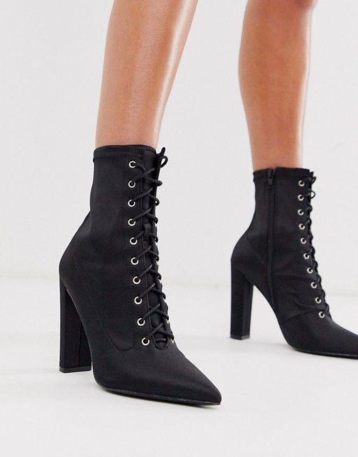 ASOS DESIGN Equals lace up block heel boots in black satin