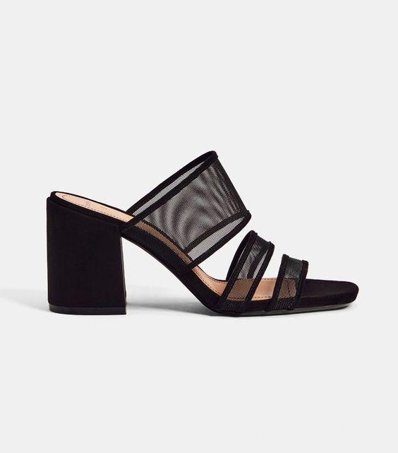 Bershka High Heel Mesh Sandals