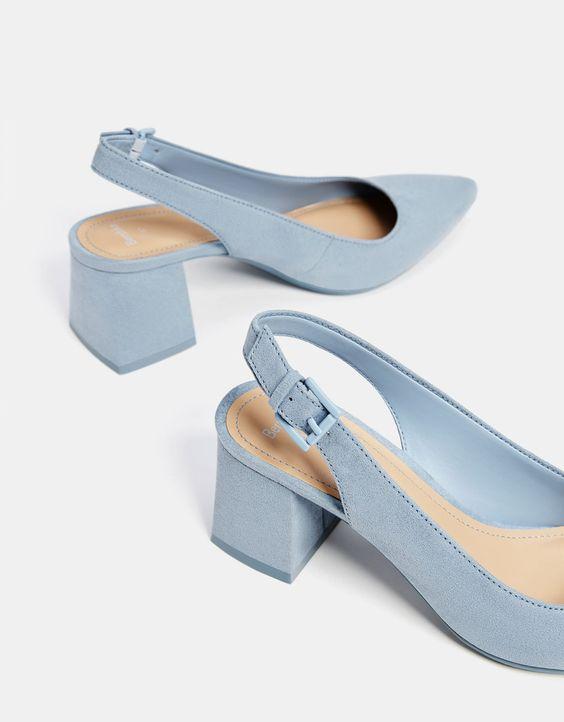 Голубые туфли-мюли, на каблуке