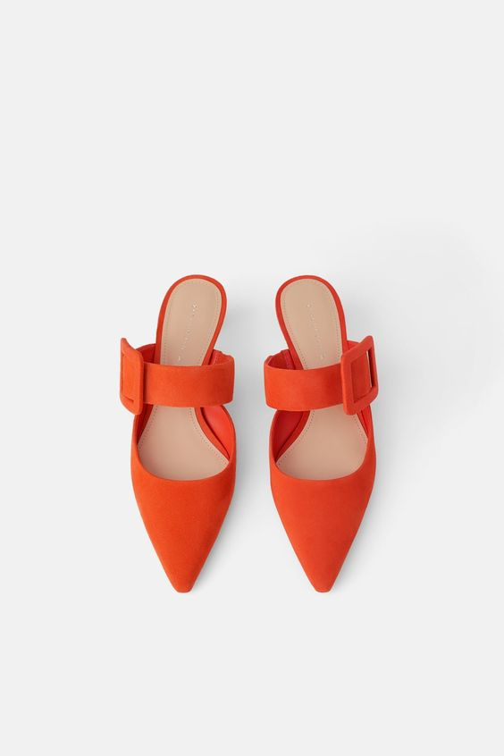 LEATHER HEELED MULES WITH MAXI BUCKLE DETAIL-View all-SHOES-WOMAN | ZARA Turkey