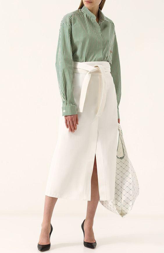 Однотонная хлопковая юбка-миди Walk of Shame белая | Фото №2