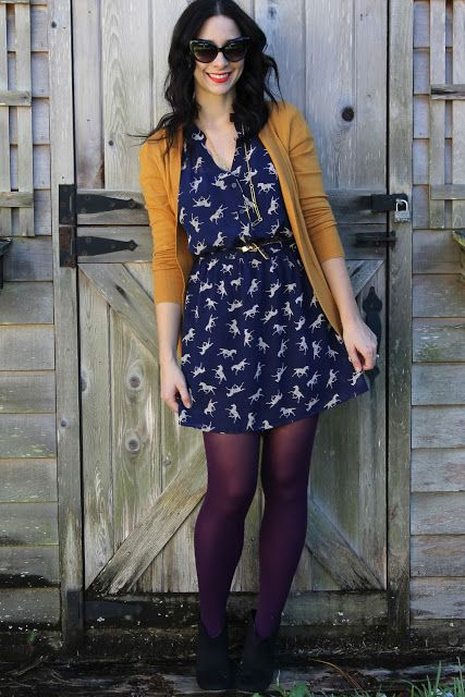 Yellow/mustard with navy blue.. flattering fit...I would wear a print but not horses... I would switch out the leggings/tights for a different color in the fall/winter or go without during the spring/summer-Andrea