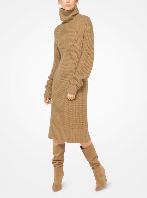 13) прямое платье свитер расслабленного кроя Michael Kors Cashmere And Mohair Sweater Dress - Chino Xs