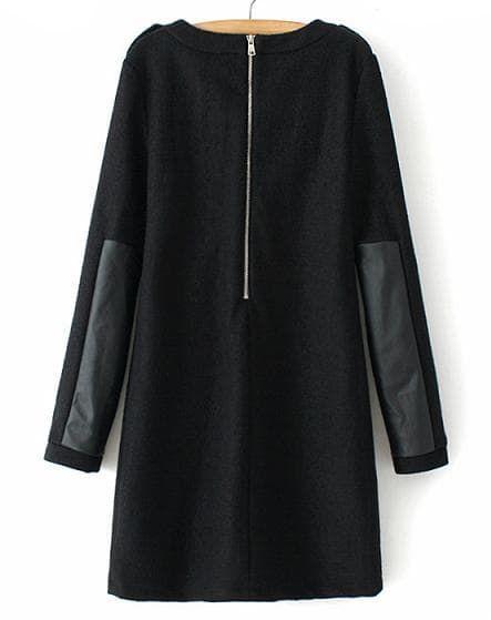 Black Long Sleeve Contrast PU Leather Zipper Dress | SHEIN