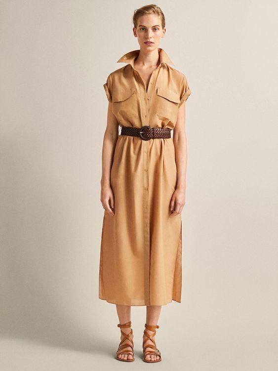 COTTON AND SILK SHIRT DRESS WITH BELT - Women - Massimo Dutti