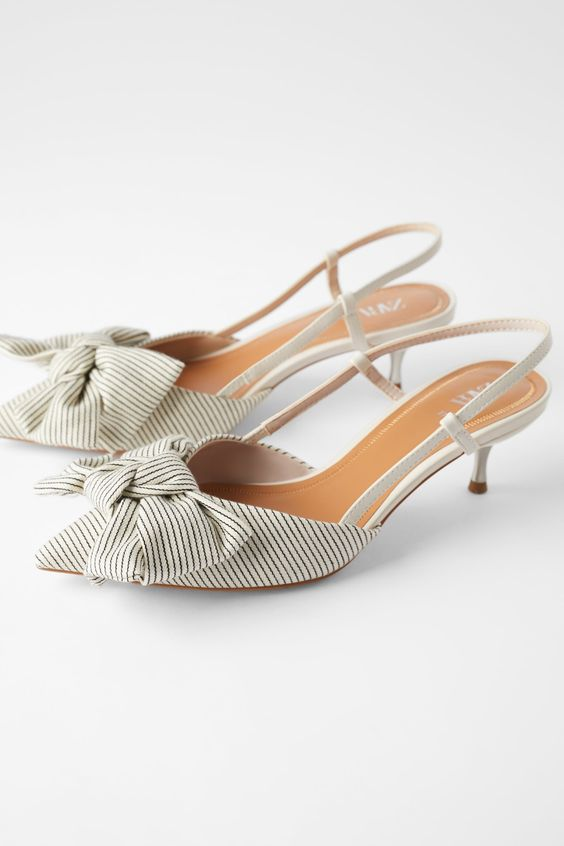 STRIPED KITTEN HEEL SHOES WITH BOW - SHOES-WOMAN-SHOES & BAGS   ZARA United States