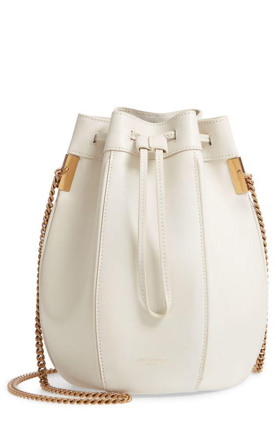 Saint Laurent Small Talitha Leather Bucket Bag - Ivory