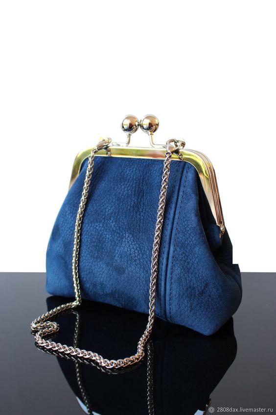 Vintage bag, Vintage, blue suede handbag on the clasp – shop and order online on Livemaster | Dark blue suede purse clasp. <br /> Soft natural…