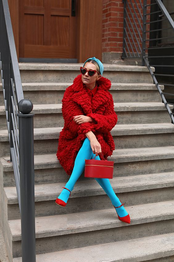 Blair Eadie wearing a red teddy coat and bright tights // Click through for details on an exclusive NET-A-PORTER shoe sale and for more bright Fall looks