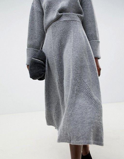 ASOS WHITE knitted midi skirt two-piece   ASOS