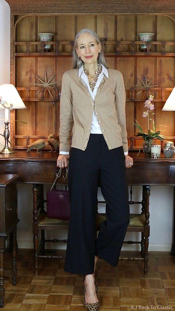 Classic-Fashion-Over-50-Talbots-Cardigan-Black-Cropped-Pants-Janis-Lyn-Johnson