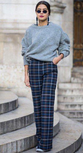 В тренде клетчатые брюки в street style 5