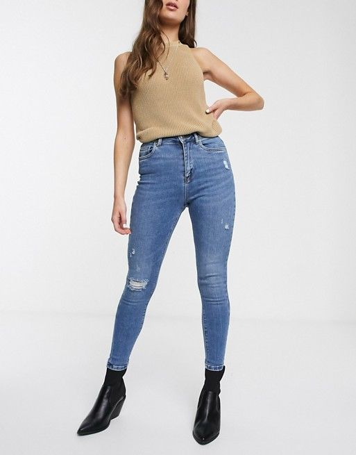 Синие джинсы скинни с рваной отделкой Only | ASOS