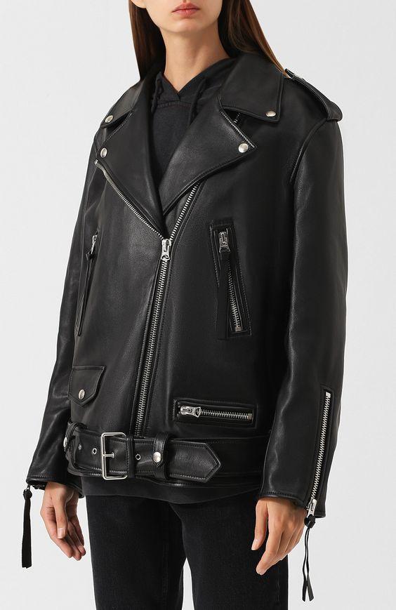 Женская черная кожаная куртка с поясом ACNE STUDIOS — купить за 127500 руб. в интернет-магазине ЦУМ, арт. A70004