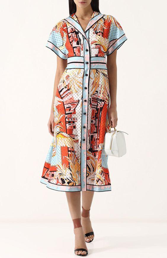 Шелковое приталенное платье-рубашка с принтом Emilio Pucci разноцветное | Фото №2