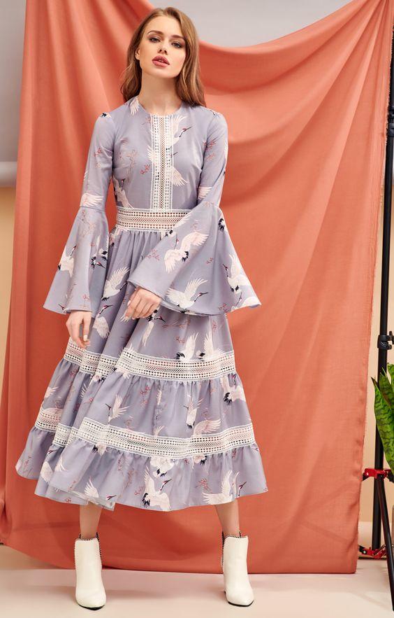 Приталенное платье с кружевными вставками и принтом с журавлями TOP20 Studio 1068441, купить за 11760 руб в интернет-магазине TopTop.ru