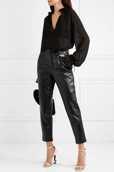 SAINT LAURENT | Leather straight-leg pants | NET-A-PORTER.COM