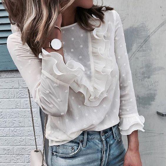 Женская кружевная блузка с длинными рукавами - Интернет магазин дешевых товаров. Интернет магазин дешевых товаров.