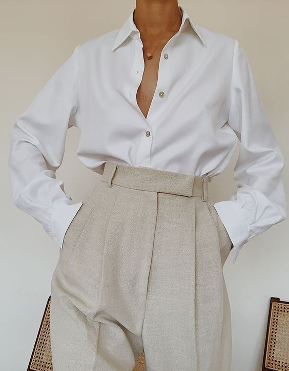 Crisp white button up and heather grey high waisted trousers. #whitebuttonup #whiteblouse #workwear