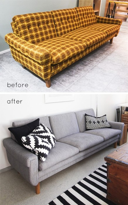 Перетяжка мягкой мебели. \ Фото: happymodern.ru.