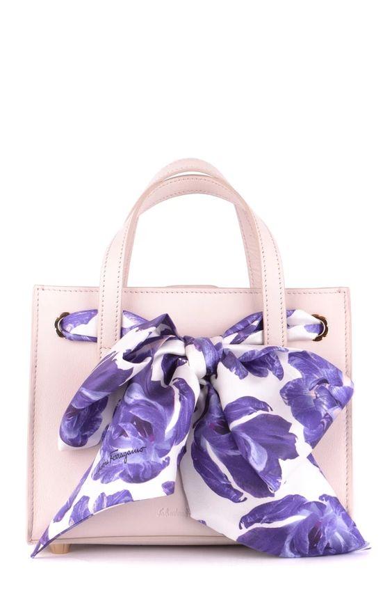 Salvatore Ferragamo Satchel Handbag With Elegant Scarf Tie
