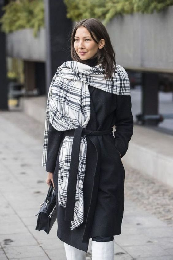 Простые способы ношения палантина в холодное время года | Журнал Ярмарки Мастеров