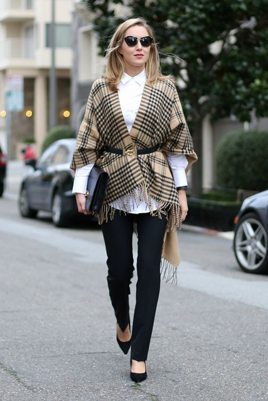 The Top Blogger Looks Of The Week | Be Daze Live - Fall Shirts - Ideas of Fall Shirts #fallshirts #shirts - Fall / Winter street style street chic style fall outfits casual outfits work outfits business casual office wear white shirt black slim fit pants black stilettos beige plaid cape black skinny belt black clutch black sunglasses