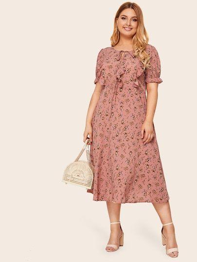 Plus Ditsy Floral Tie Front Ruffle Dress [swdress04190709523] - $18.00 : cuteshopp.com