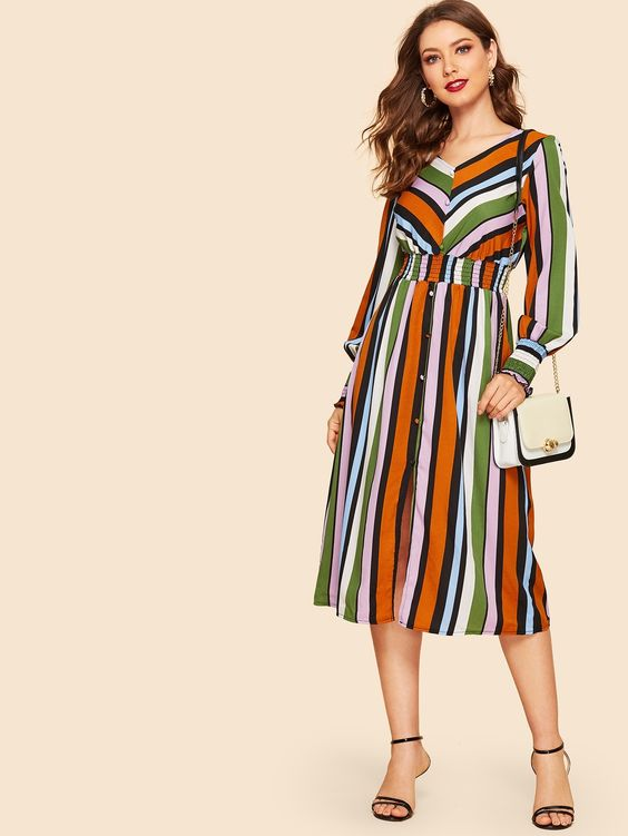 70s Colorful Striped Smocked Waist Shirt Dress