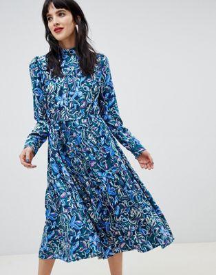 Custommade 70's Midi Dress in Paisley Print