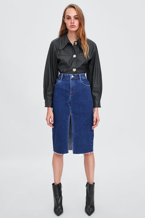 Image 1 of DENIM SKIRT WITH VENT from Zara
