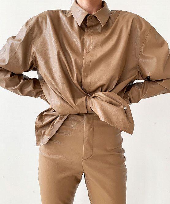 Рубашка О-силуэта из эко-кожи   показать все товары   USHATÁVA