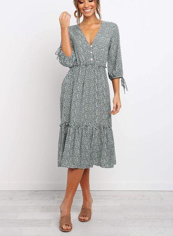 V-Neckline Floral Midi Dress – RosyFairy