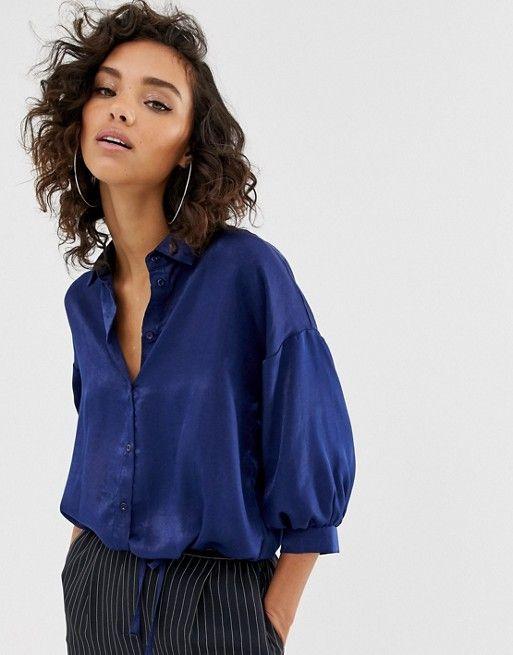 Na-kd puff sleeve satin blouse in navy | ASOS